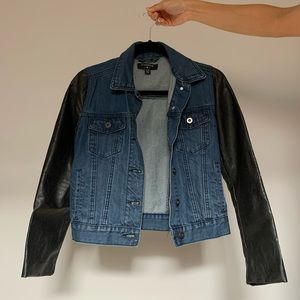 Denim jacket with leather sleeves size XS